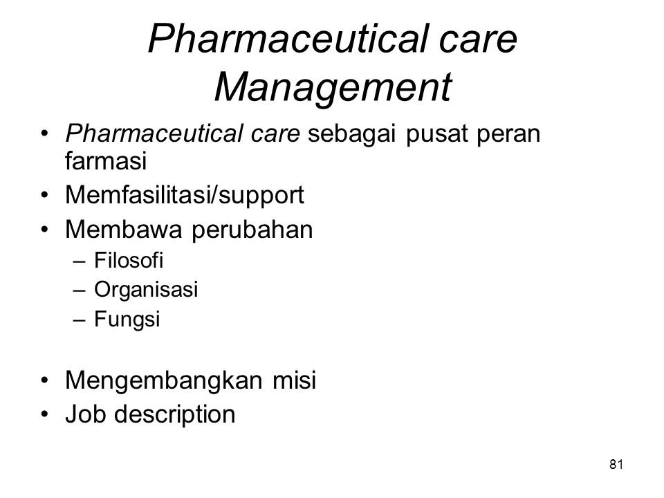 Pharmaceutical care Management
