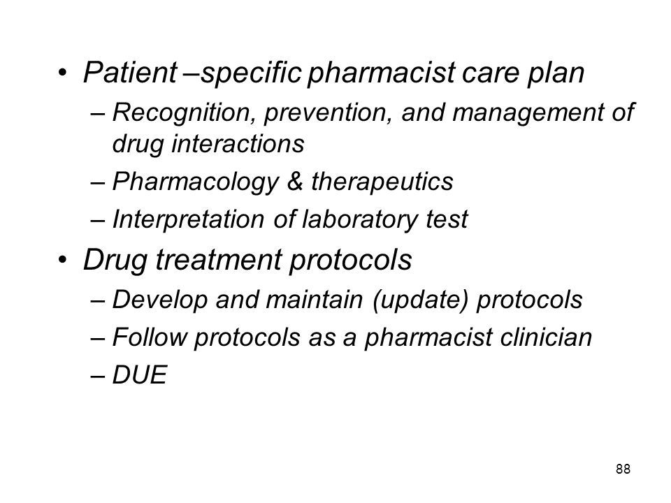 Patient –specific pharmacist care plan