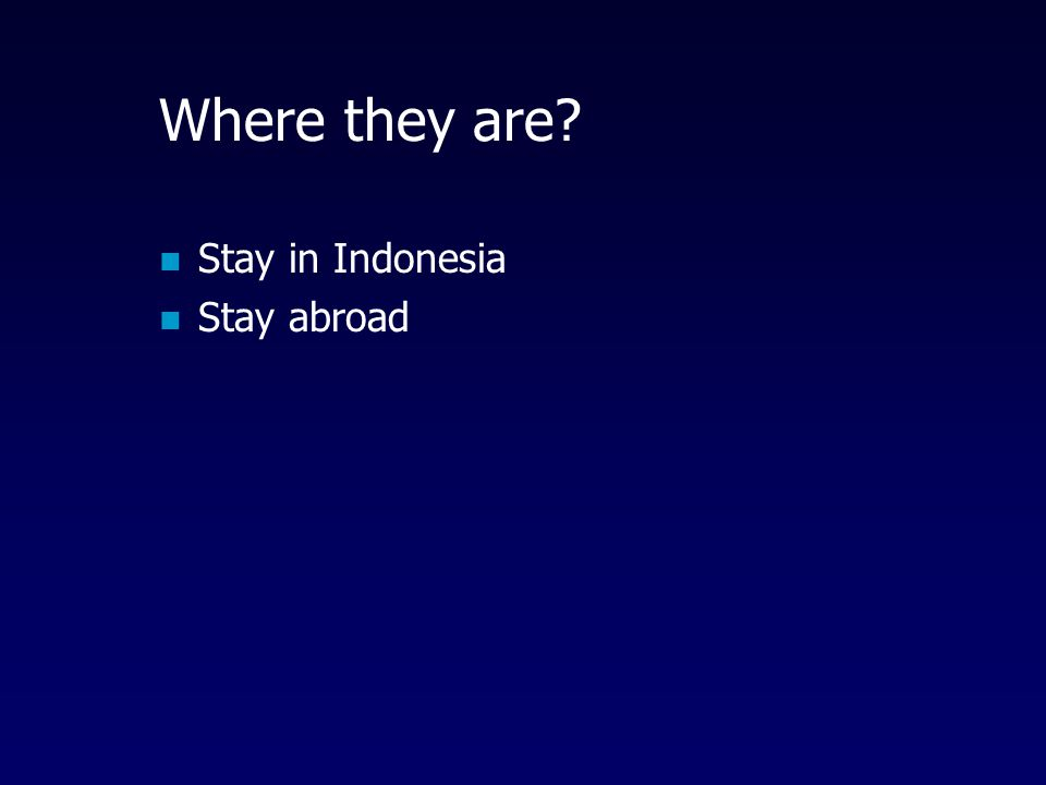 Where they are Stay in Indonesia Stay abroad