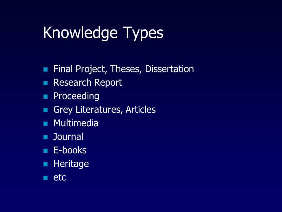 Knowledge Types Final Project, Theses, Dissertation Research Report