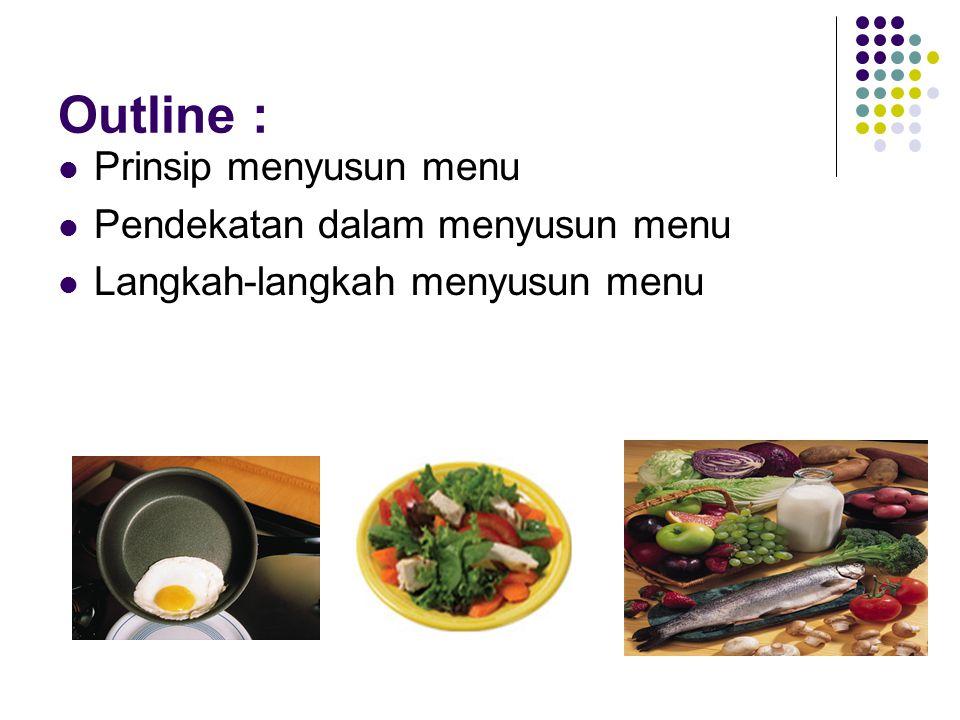 Outline : Prinsip menyusun menu Pendekatan dalam menyusun menu