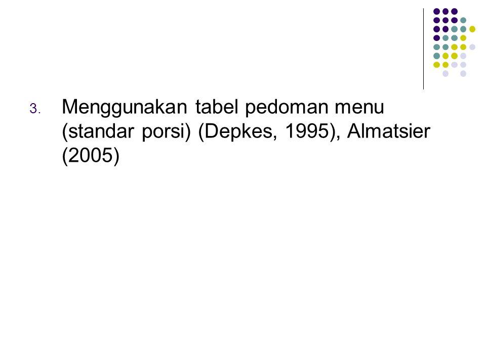 Menggunakan tabel pedoman menu (standar porsi) (Depkes, 1995), Almatsier (2005)