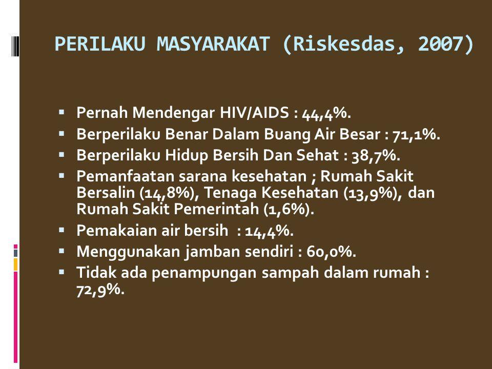 PERILAKU MASYARAKAT (Riskesdas, 2007)