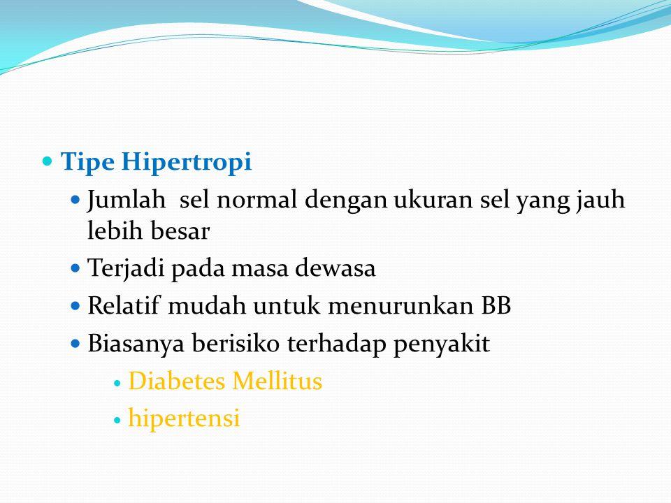 Tipe Hipertropi Jumlah sel normal dengan ukuran sel yang jauh lebih besar. Terjadi pada masa dewasa.