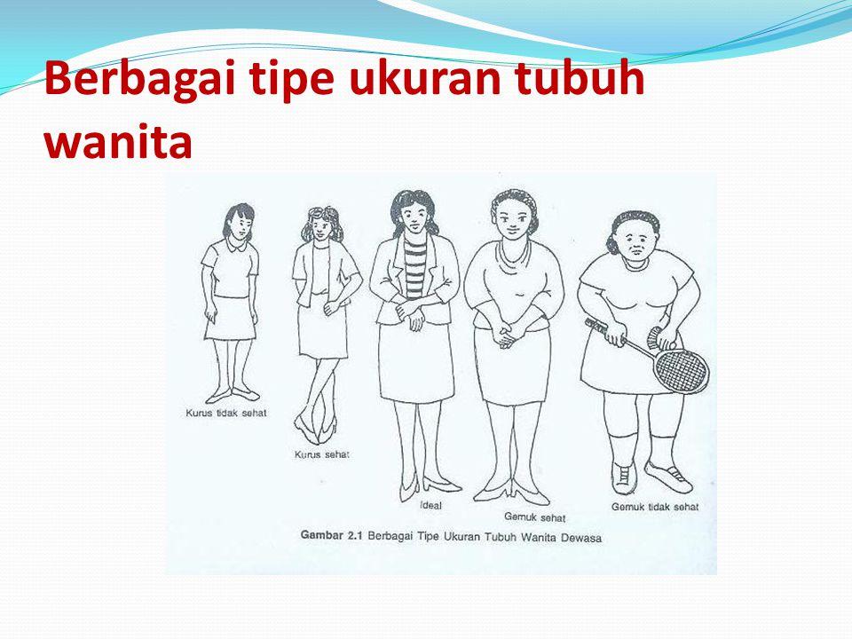Berbagai tipe ukuran tubuh wanita
