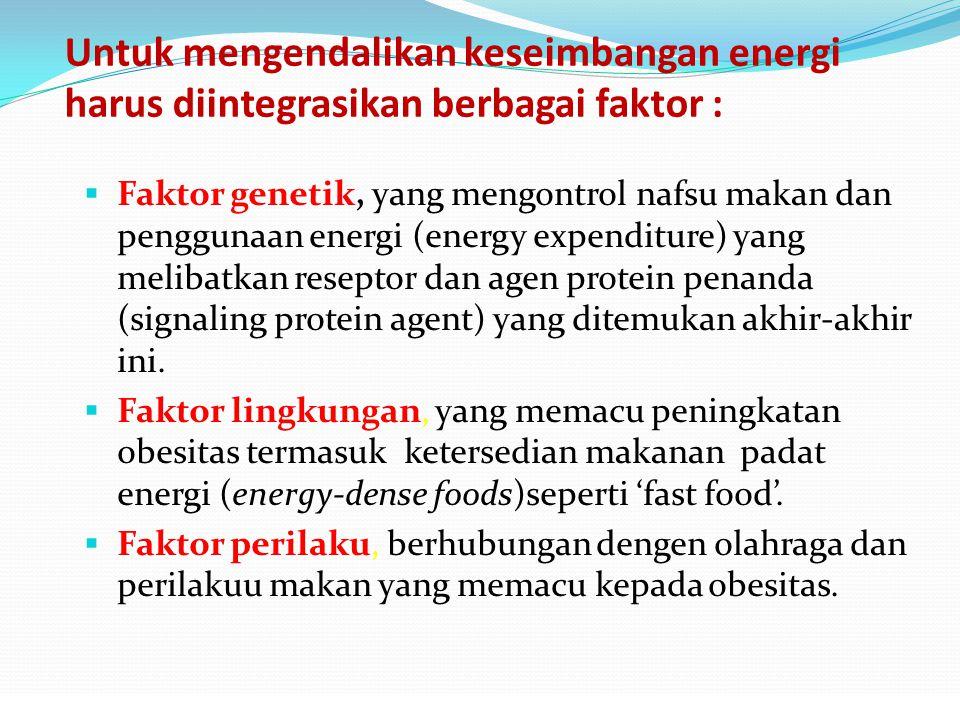 Untuk mengendalikan keseimbangan energi harus diintegrasikan berbagai faktor :