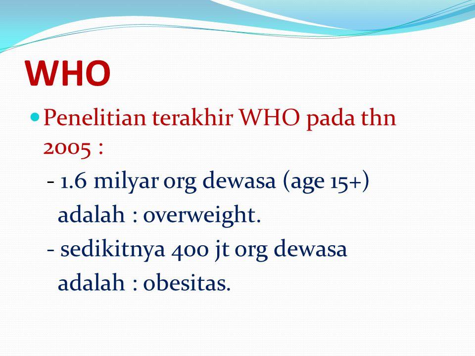 WHO Penelitian terakhir WHO pada thn 2005 :