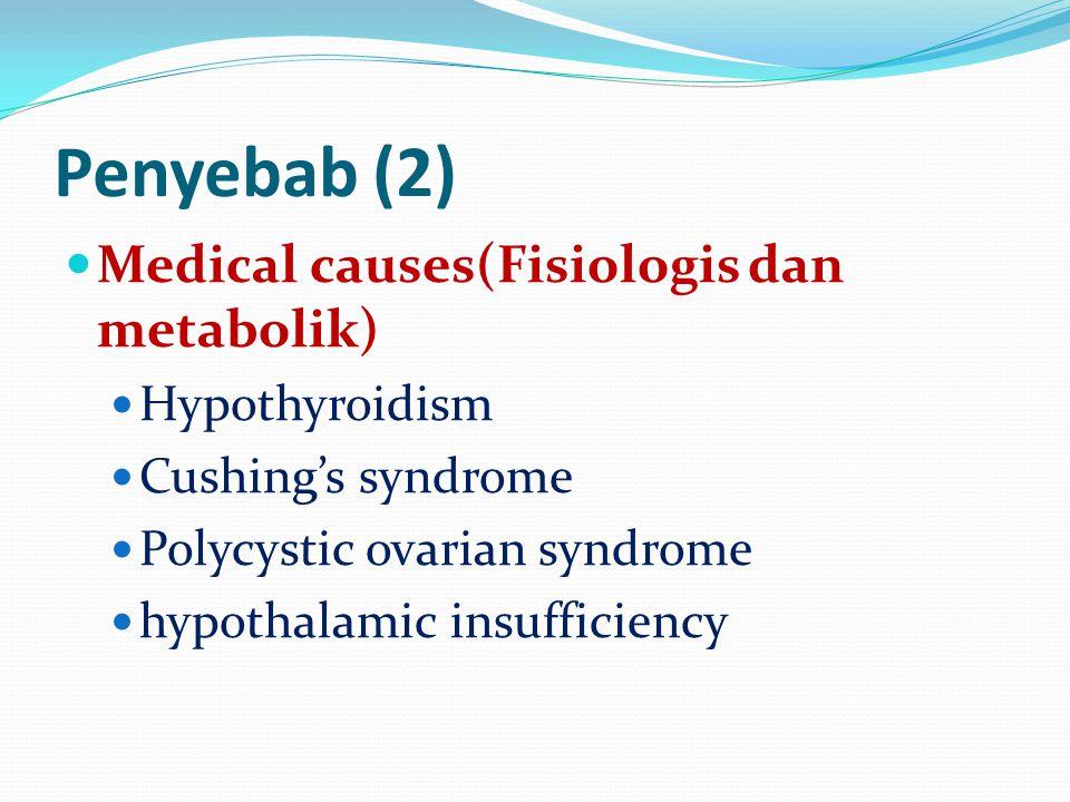 Penyebab (2) Medical causes(Fisiologis dan metabolik) Hypothyroidism