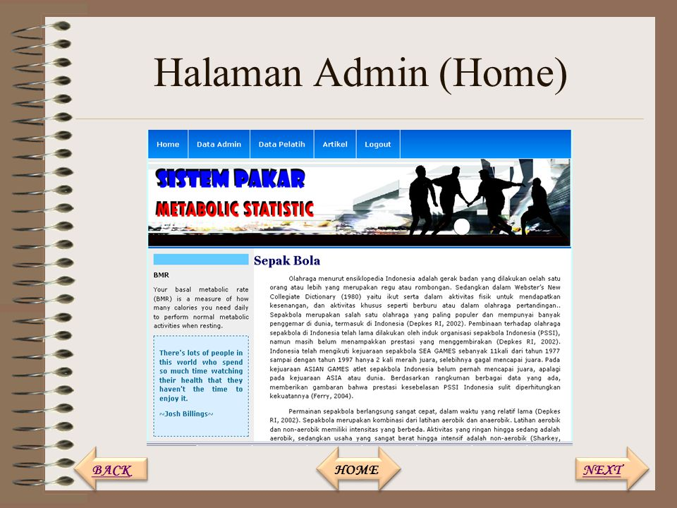 Halaman Admin (Home) BACK HOME NEXT