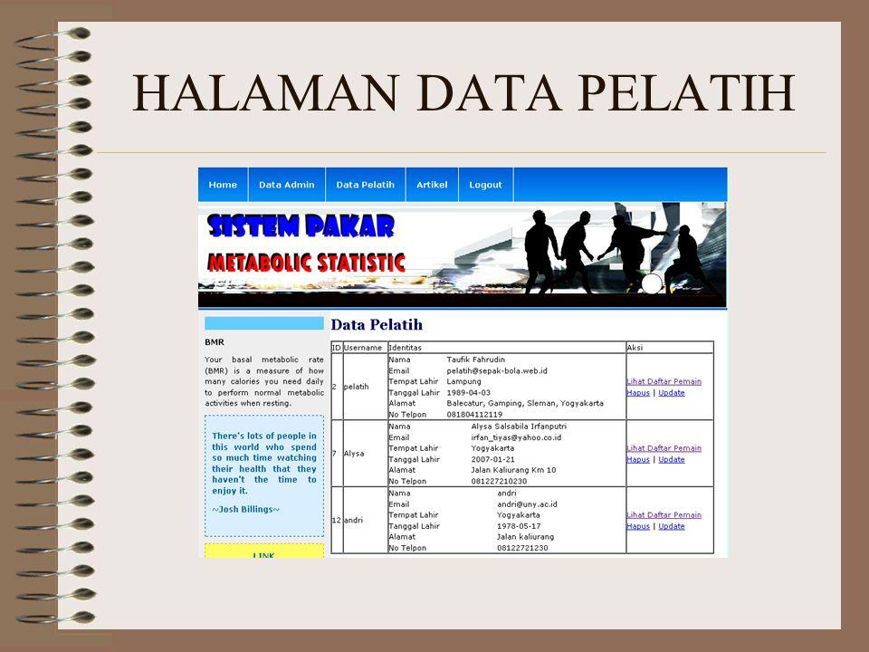 HALAMAN DATA PELATIH