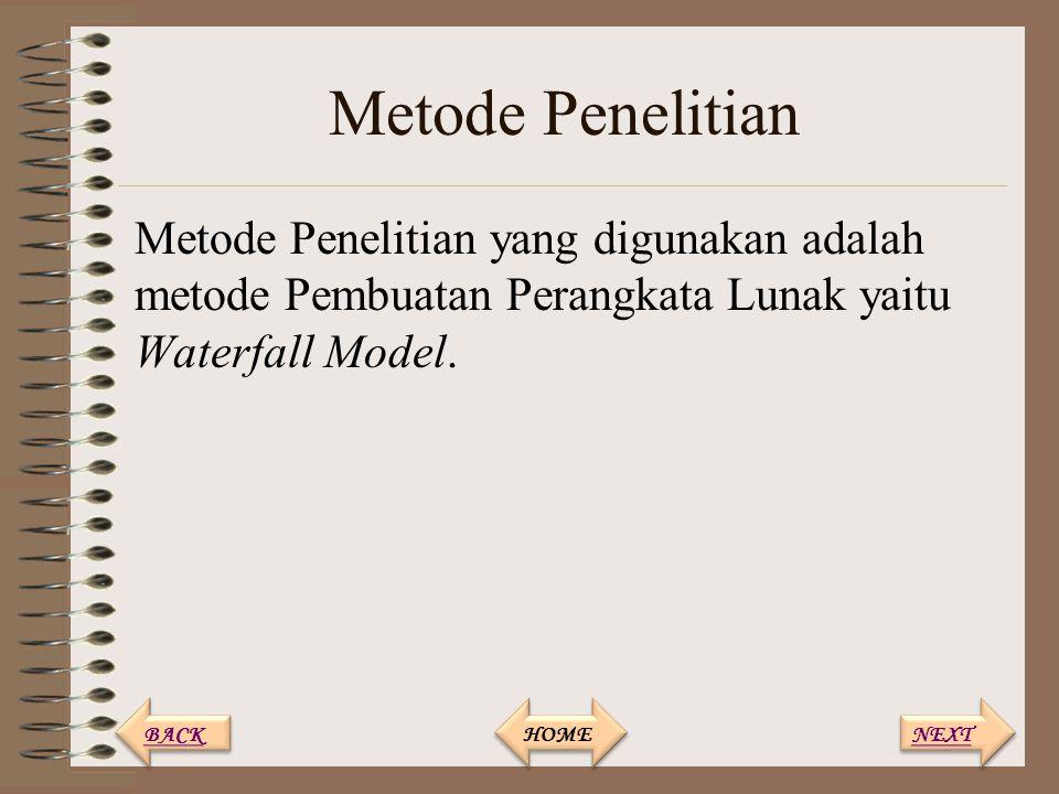 Metode Penelitian Metode Penelitian yang digunakan adalah metode Pembuatan Perangkata Lunak yaitu Waterfall Model.