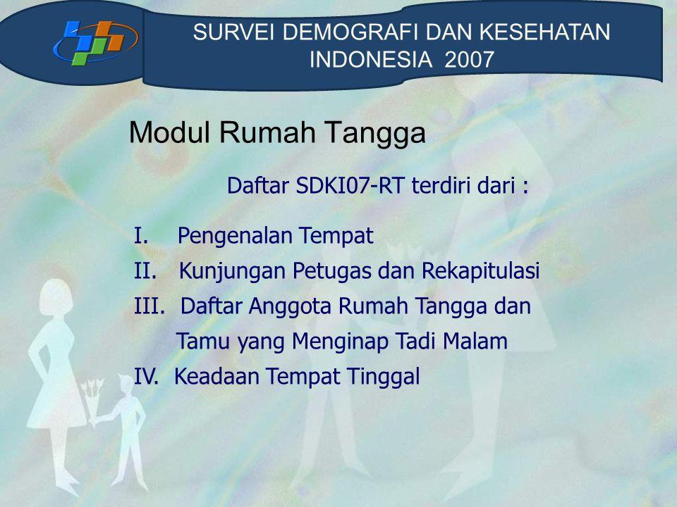 Modul Rumah Tangga SURVEI DEMOGRAFI DAN KESEHATAN INDONESIA 2007