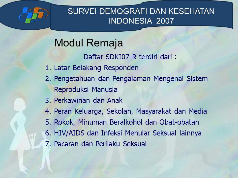 Modul Remaja SURVEI DEMOGRAFI DAN KESEHATAN INDONESIA 2007