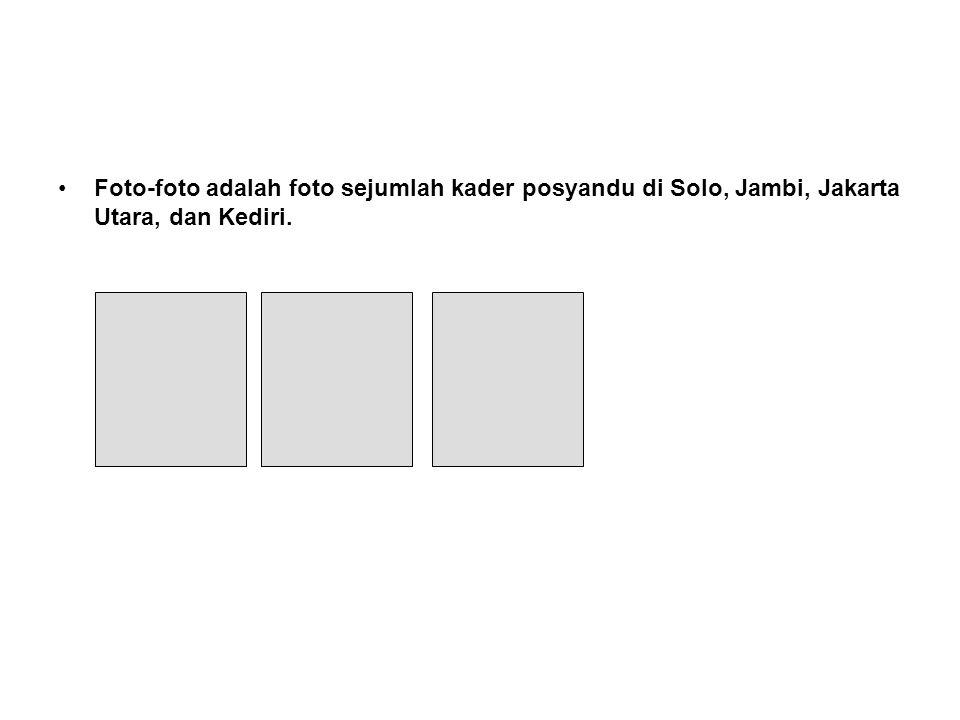 Foto-foto adalah foto sejumlah kader posyandu di Solo, Jambi, Jakarta Utara, dan Kediri.