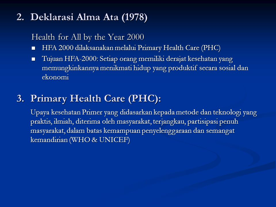 Primary Health Care (PHC):