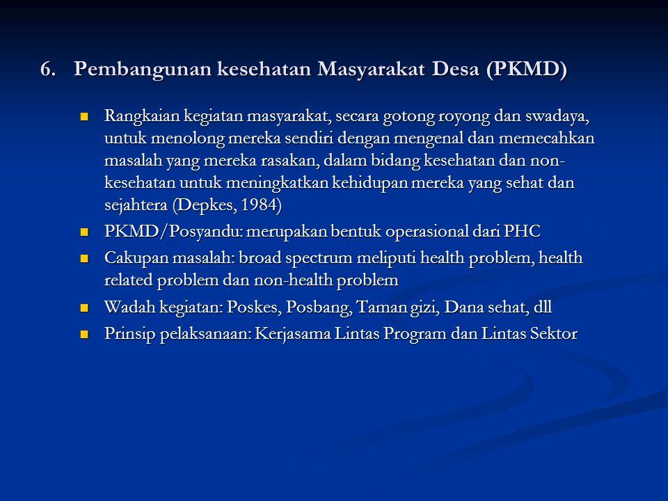 6. Pembangunan kesehatan Masyarakat Desa (PKMD)