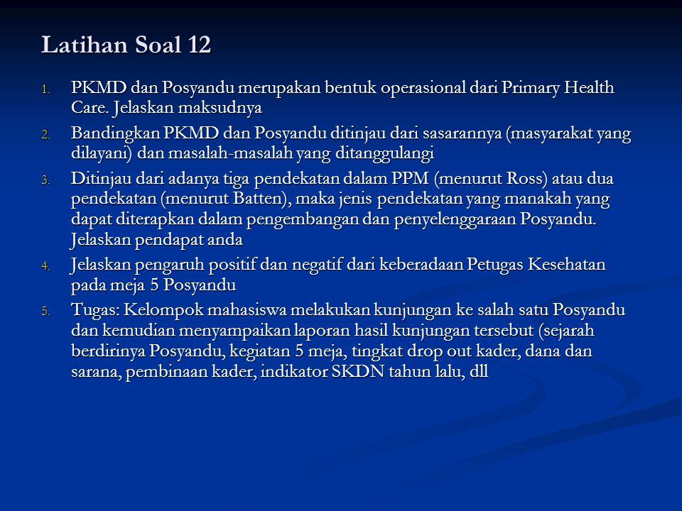 Latihan Soal 12 PKMD dan Posyandu merupakan bentuk operasional dari Primary Health Care. Jelaskan maksudnya.