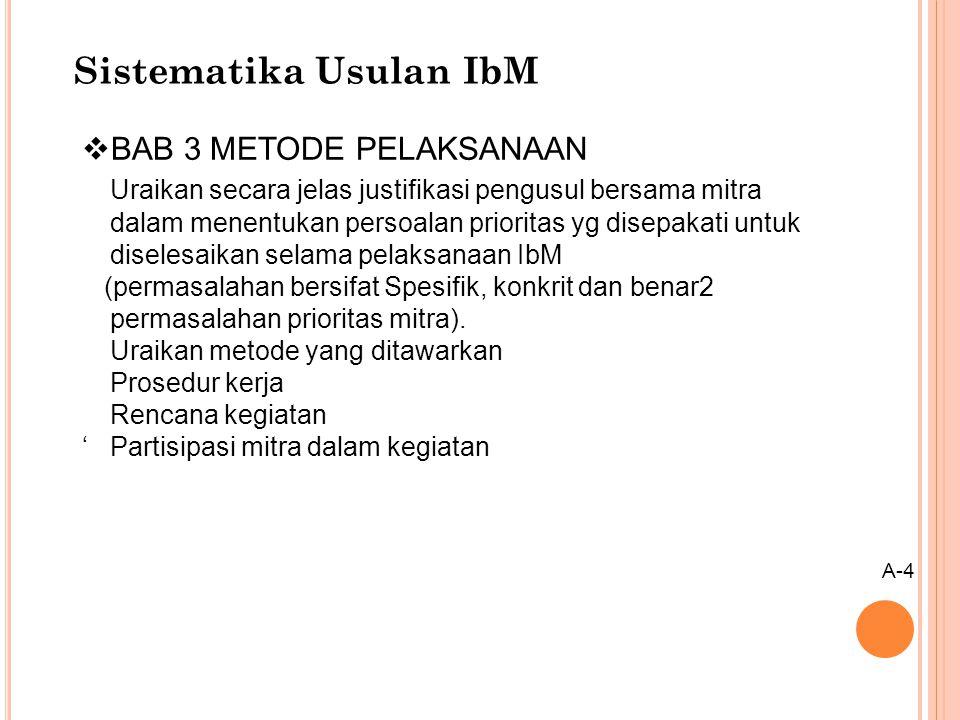 Sistematika Usulan IbM