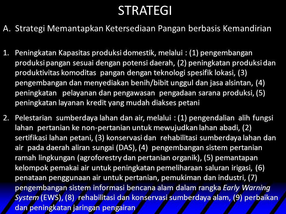 STRATEGI A. Strategi Memantapkan Ketersediaan Pangan berbasis Kemandirian.