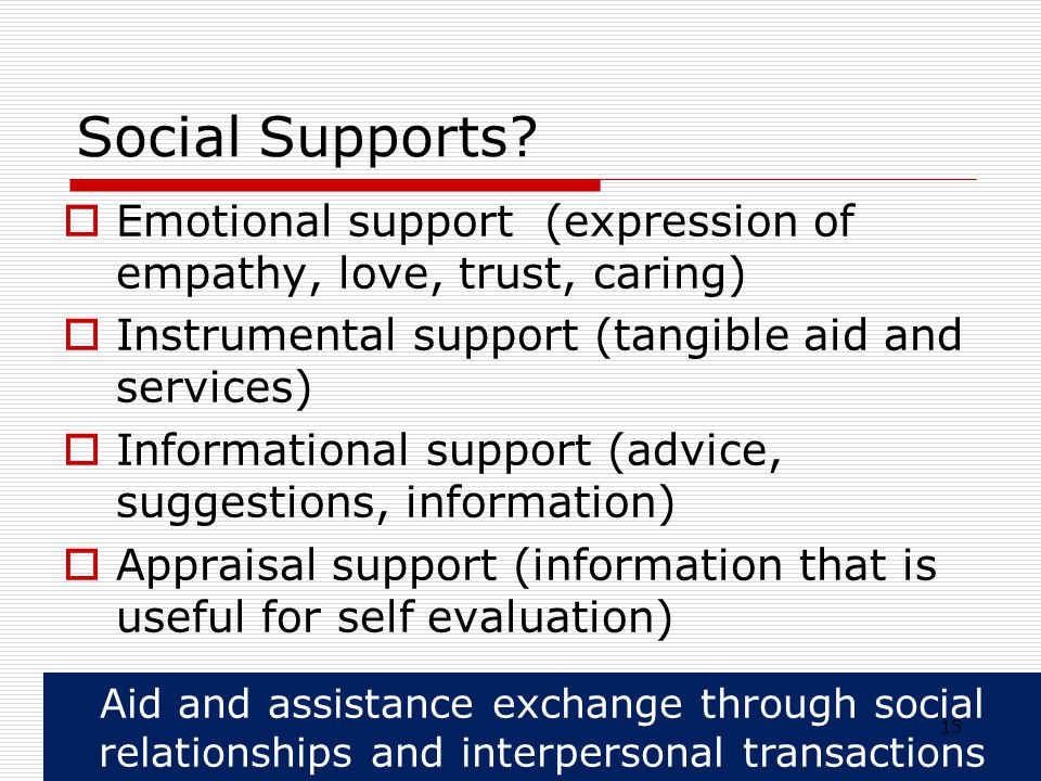 Social Supports Emotional support (expression of empathy, love, trust, caring) Instrumental support (tangible aid and services)