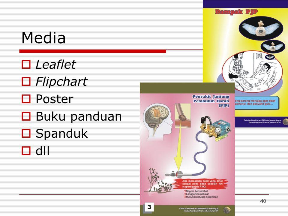 Media Leaflet Flipchart Poster Buku panduan Spanduk dll