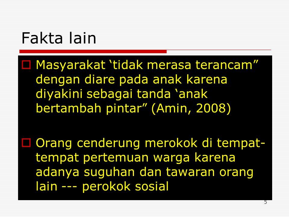 Fakta lain Masyarakat 'tidak merasa terancam dengan diare pada anak karena diyakini sebagai tanda 'anak bertambah pintar (Amin, 2008)