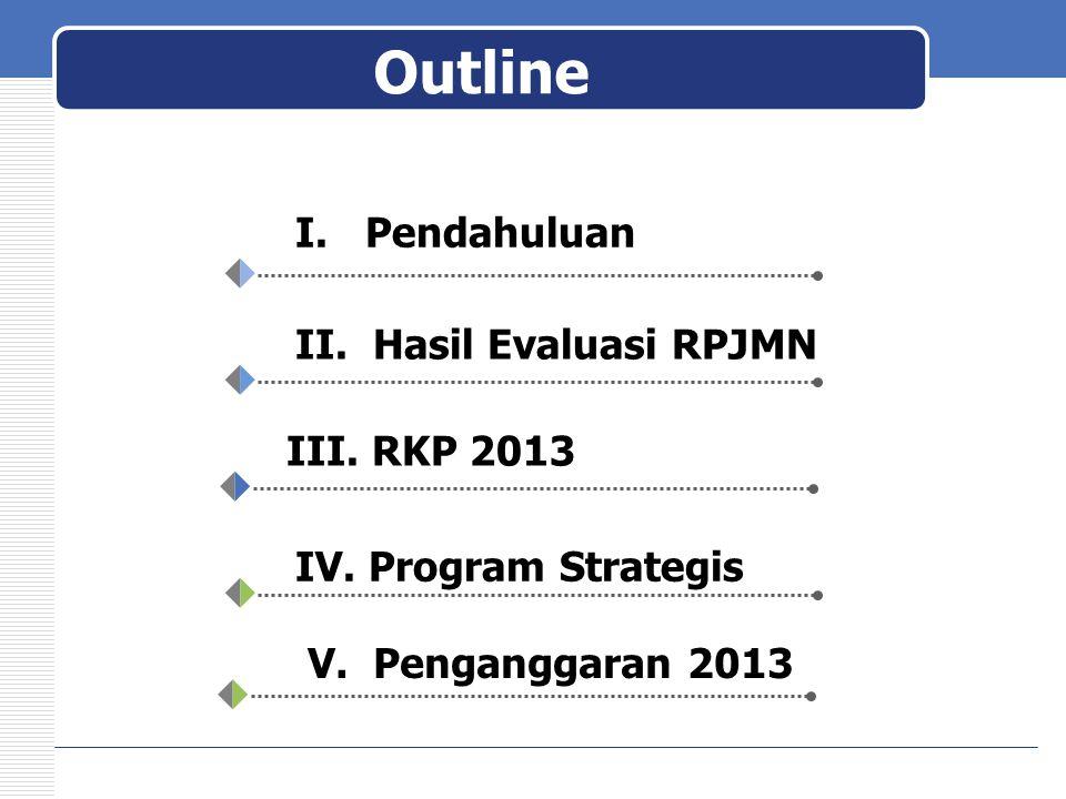 Outline I. Pendahuluan II. Hasil Evaluasi RPJMN III. RKP 2013