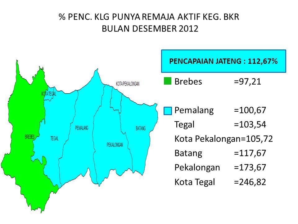 % PENC. KLG PUNYA REMAJA AKTIF KEG. BKR BULAN DESEMBER 2012