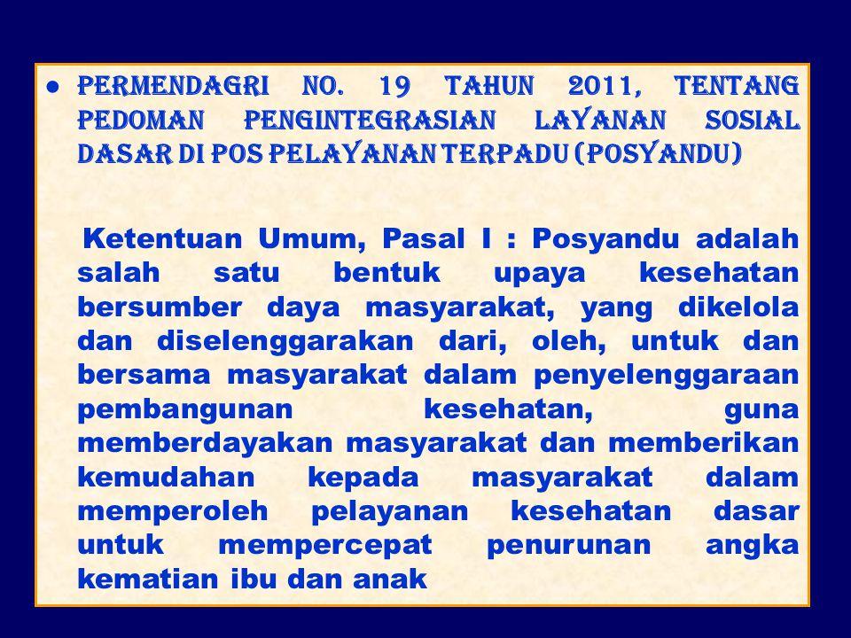 ● Permendagri No. 19 Tahun 2011, tentang Pedoman Pengintegrasian Layanan Sosial Dasar di Pos Pelayanan Terpadu (Posyandu)