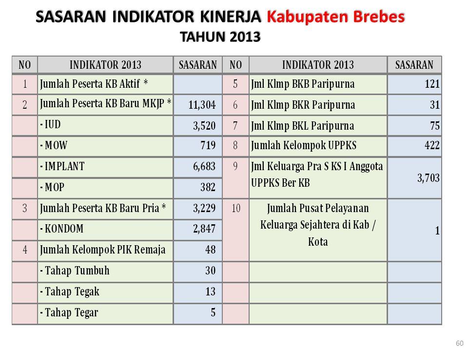 SASARAN INDIKATOR KINERJA Kabupaten Brebes TAHUN 2013