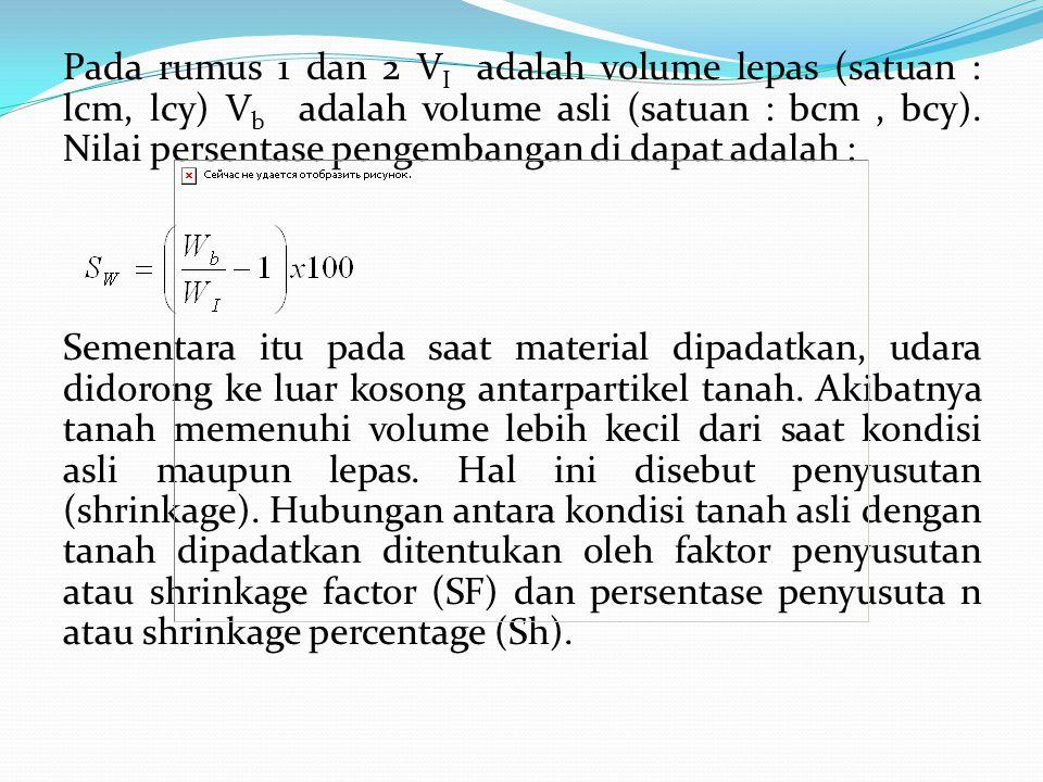 Pada rumus 1 dan 2 VI adalah volume lepas (satuan : lcm, lcy) Vb adalah volume asli (satuan : bcm , bcy).