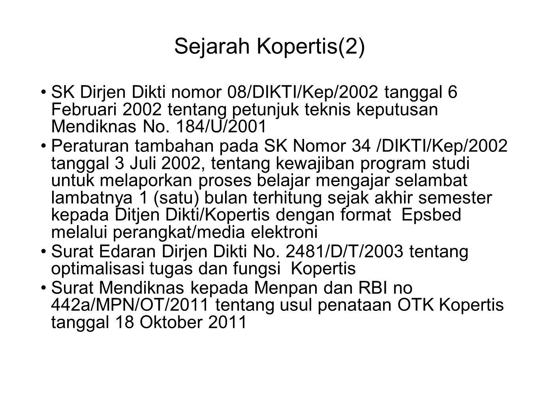 Sejarah Kopertis(2) SK Dirjen Dikti nomor 08/DIKTI/Kep/2002 tanggal 6 Februari 2002 tentang petunjuk teknis keputusan Mendiknas No. 184/U/2001.