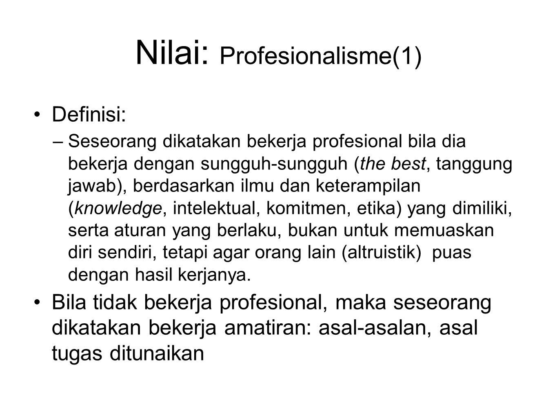 Nilai: Profesionalisme(1)
