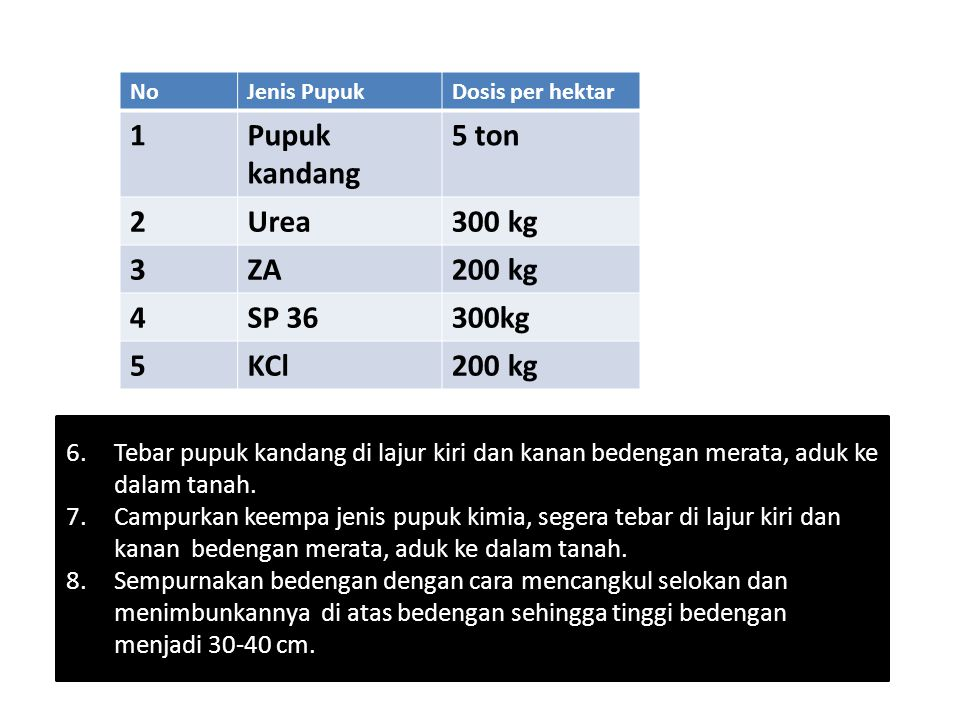 1 Pupuk kandang 5 ton 2 Urea 300 kg 3 ZA 200 kg 4 SP 36 300kg 5 KCl