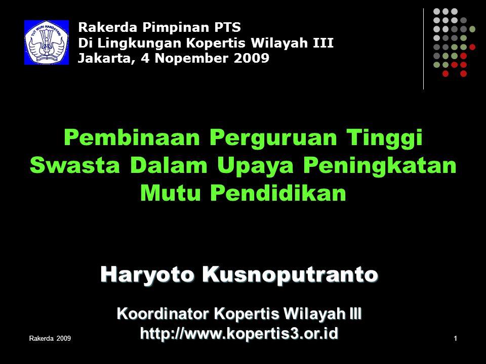 Haryoto Kusnoputranto Koordinator Kopertis Wilayah III