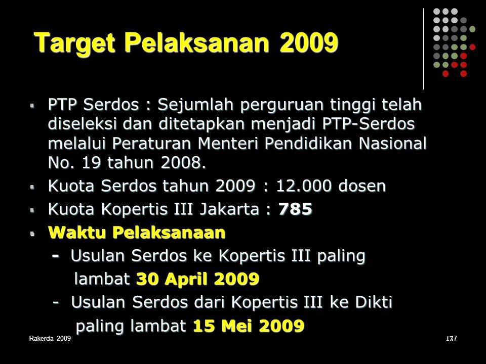 Target Pelaksanan 2009