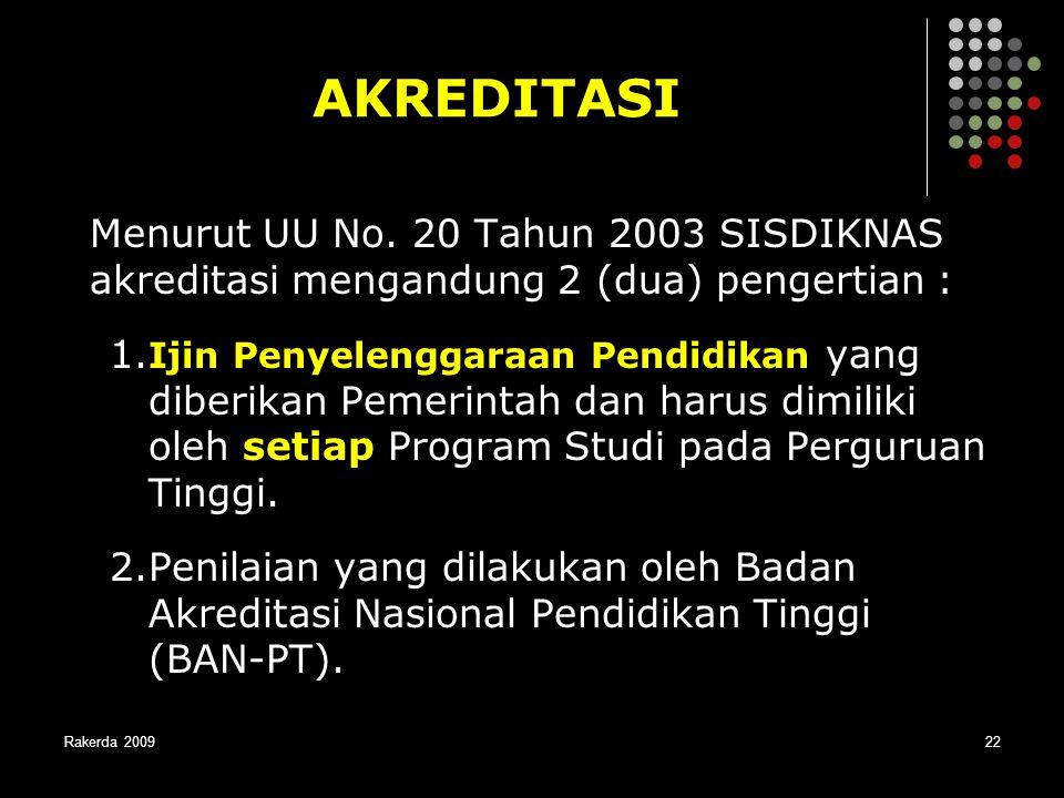 AKREDITASI Menurut UU No. 20 Tahun 2003 SISDIKNAS akreditasi mengandung 2 (dua) pengertian :