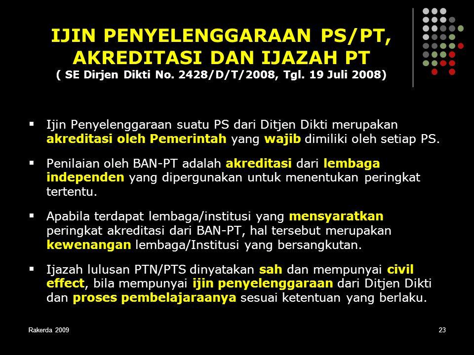 IJIN PENYELENGGARAAN PS/PT, AKREDITASI DAN IJAZAH PT ( SE Dirjen Dikti No. 2428/D/T/2008, Tgl. 19 Juli 2008)