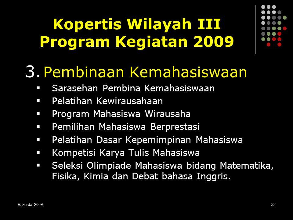 Kopertis Wilayah III Program Kegiatan 2009