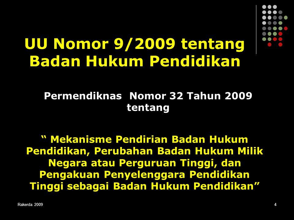 UU Nomor 9/2009 tentang Badan Hukum Pendidikan