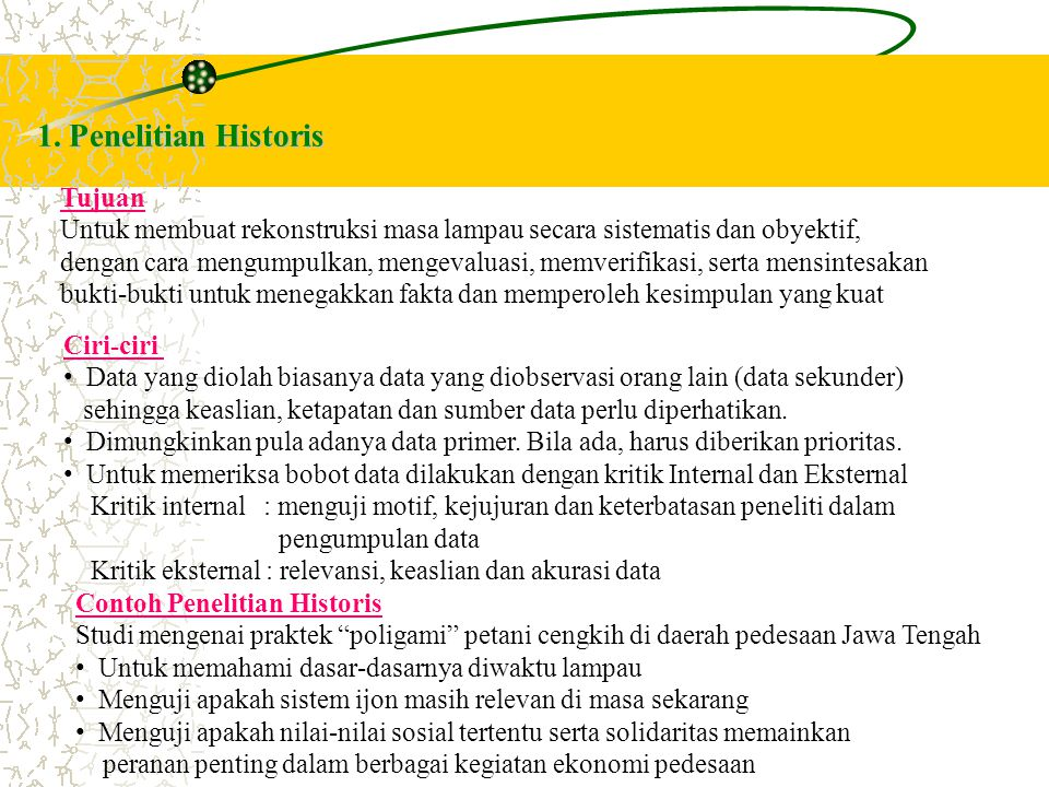 1. Penelitian Historis Tujuan