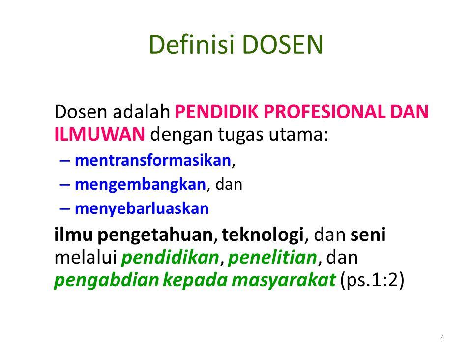 Definisi DOSEN Dosen adalah PENDIDIK PROFESIONAL DAN ILMUWAN dengan tugas utama: mentransformasikan,