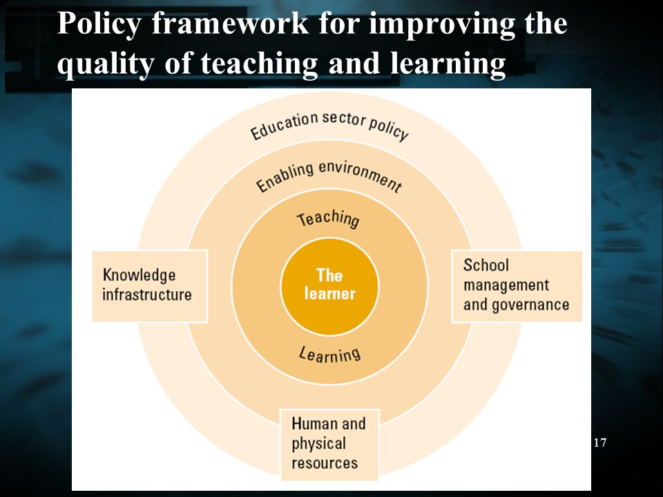 Policy framework for improving the quality of teaching and learning