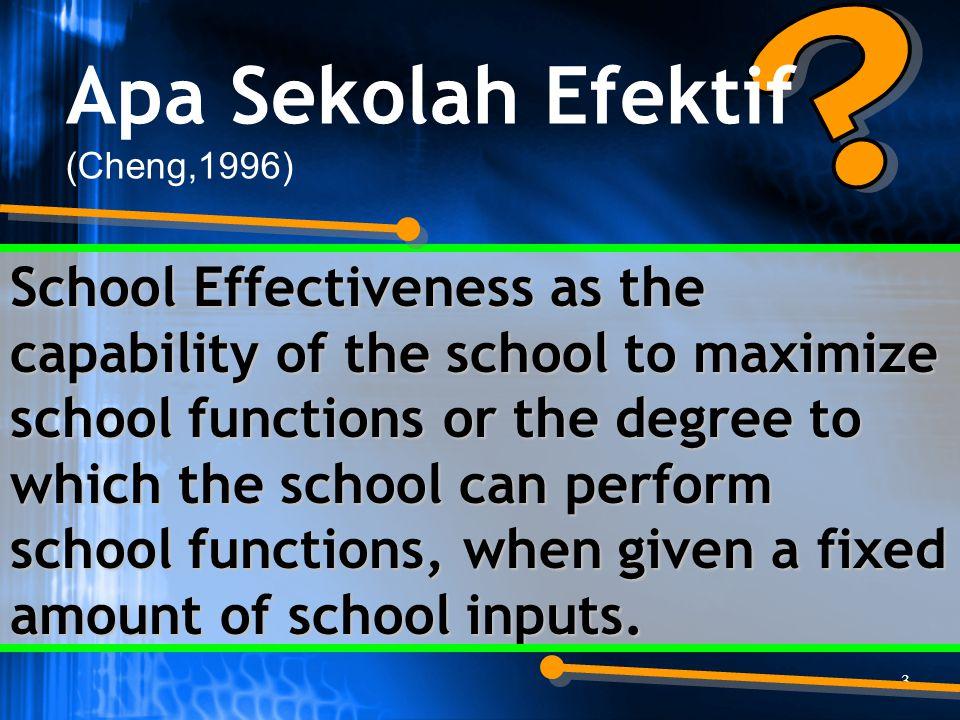 Apa Sekolah Efektif. (Cheng,1996)