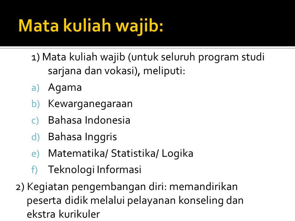 Mata kuliah wajib: 1) Mata kuliah wajib (untuk seluruh program studi sarjana dan vokasi), meliputi: