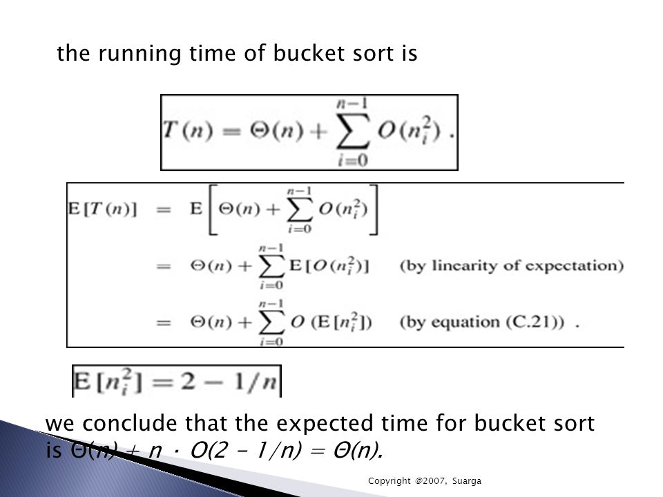 the running time of bucket sort is