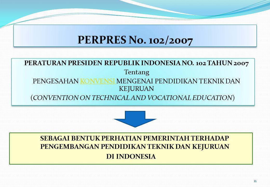 PERPRES No. 102/2007 PERATURAN PRESIDEN REPUBLIK INDONESIA NO. 102 TAHUN 2007. Tentang. PENGESAHAN KONVENSI MENGENAI PENDIDIKAN TEKNIK DAN KEJURUAN.