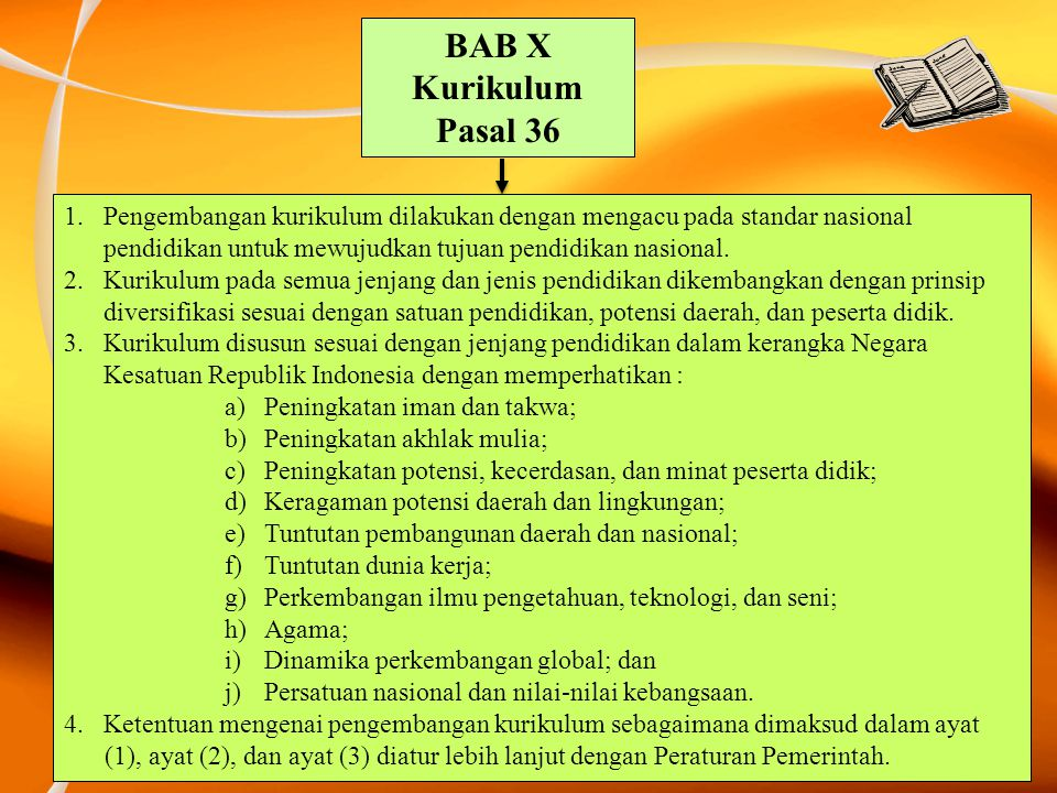 BAB X Kurikulum. Pasal 36.