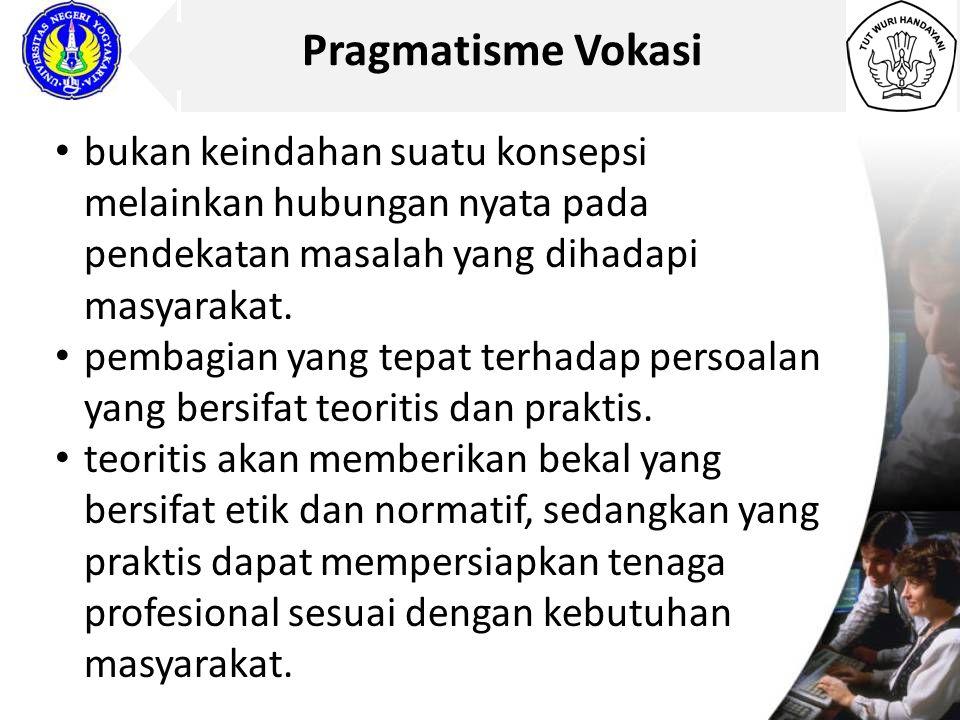 Pragmatisme Vokasi bukan keindahan suatu konsepsi melainkan hubungan nyata pada pendekatan masalah yang dihadapi masyarakat.