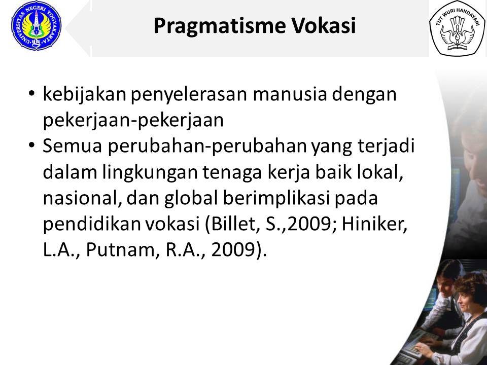 Pragmatisme Vokasi kebijakan penyelerasan manusia dengan pekerjaan-pekerjaan.